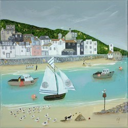 Little houses by the shore by Lucy Young -  sized 12x12 inches. Available from Whitewall Galleries